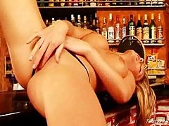 Gina naked in the bar 3