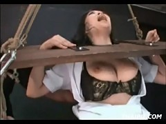 Asian In A Stockade Made to Orgasm