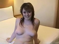 Cutie with nice natural tits gets creampie