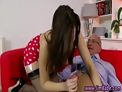 Posh brunette in stockings gets a cumshot