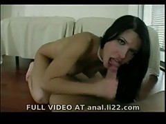 Teen with black hair fucked anal on the floor