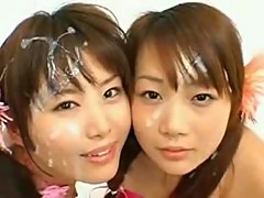 Cums on asian lolitas faces