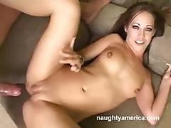 Brunette Teen Sucks Cock And Fucks Him With Her Bald Pussy