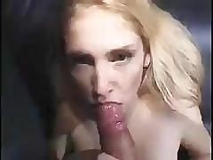 This Blonde Is Sucking His Dick And Takes A Load In The Mouth