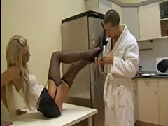 Hot Young Blonde Uses her Feet To Rub...