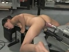 Amateur machine fucked, dripping wet pussy creams all over rubber cock