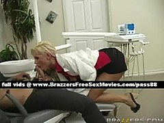 Adorable blonde dentist gets her clothes of