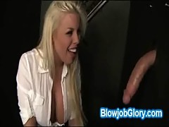 Hot boobed booty blonde babe sucks big cock through holy gloryhole