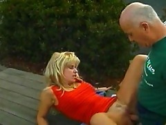 Hot blonde and grandpa loves sex adventures