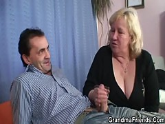 Granny gives double blowjob and gets fucked