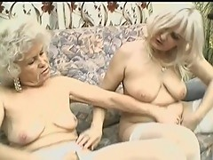 Two blonde senior sluts pamper slit with toy