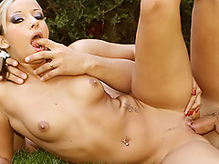 TIGHT euro babe sucking and fucking outdoors