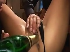 Champagne, 3 guys and a young pussy
