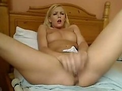 Blonde With Tiny Nipples Uses Vibrator