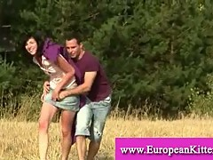 Couple getting horny outdoors