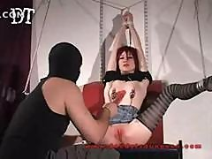 Tiny Teen Is Tied Up And This Guy Uses A Big Dildo On Her Pussy
