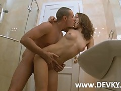 Couple copulating in the shower