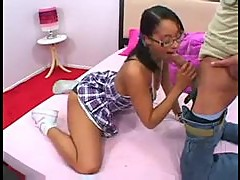 Cute black teen in glasses fucked by dude