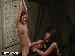 Brunette Babe Gets Strung Up And Teased And Abused By Her Mistress