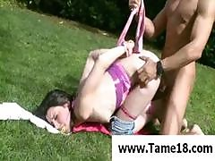 Teen Slave Gets Nailed Outdoors