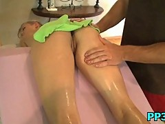 Eager sexy slut banged after massage