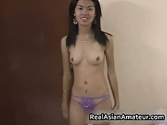 Horny amateur Asian shows her small tits