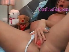 Super amateur russian fingering pussy and ass and plays with awesome boobs
