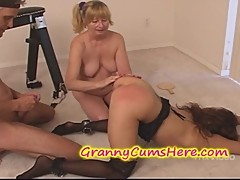 Granny Spanks and EATS YOUNG Pussy
