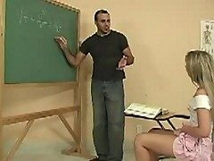 Horny teacher stud makes student show pussy