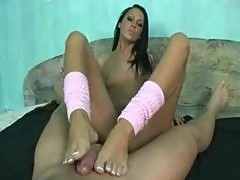 Regina Moon's french tipped toes rub your cock