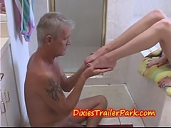 Teen forces her daddy to be foot slave and toilet boy
