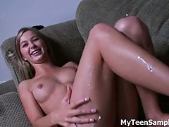 Teen licks creams from her toes