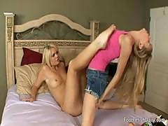 This Blond Lezzie Is A Real Foot Fetish Maniac Addicted To The Taste Of Her Gf's Toes