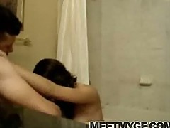 Cute girl toilet blowjob
